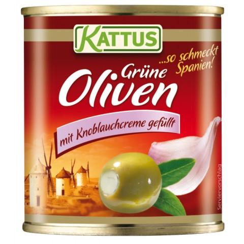Kattus Oliven mit Knoblauchcreme gefüllt