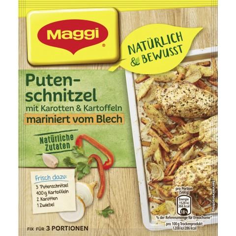 Maggi Natürlich & Bewusst Putenschnitzel mit Karotten und Kartoffeln mariniert vom Blech