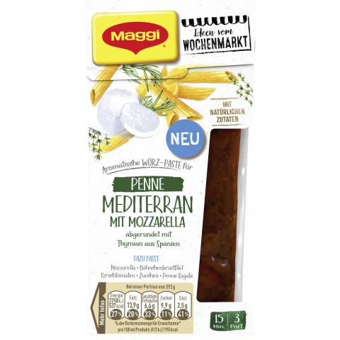Maggi Wochenmarkt Würz-Paste Penne Mediterran mit Mozzarella 89 ml