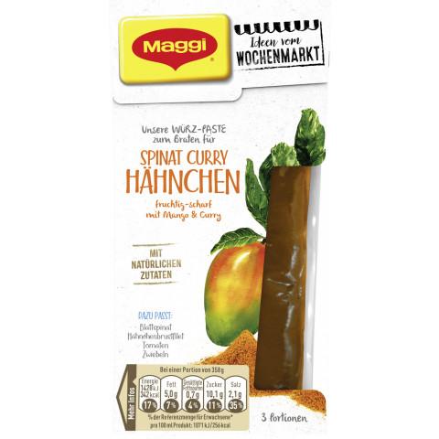 Maggi Wochenmarkt Würz-Paste zum Braten für Spinat Curry Hähnchen 82 ml