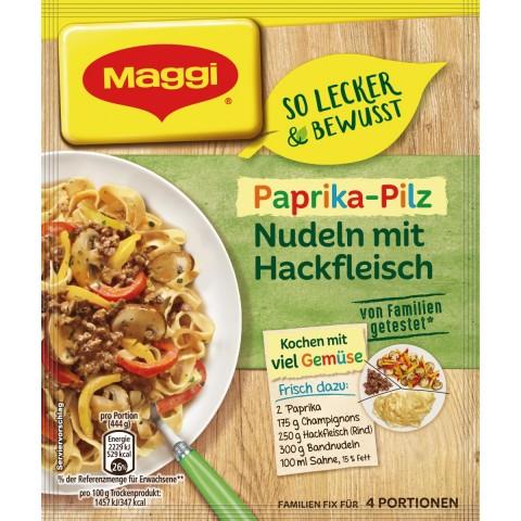 Maggi So lecker & Bewusst Paprika-Pilz Nudeln mit Hackfleisch