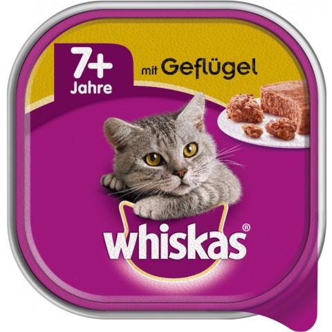 Whiskas 7+ mit Geflügel Katzenfutter nass Schale