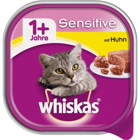 Whiskas 1+ Sensitive mit Huhn Katzenfutter nass Schale