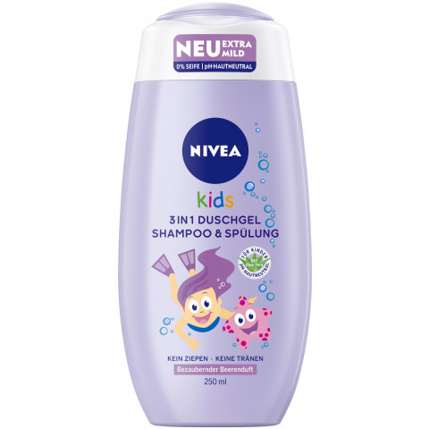 Nivea Kids 3in1 Duschgel, Shampoo & Spülung Bezaubernder Beerenduft 250 ml