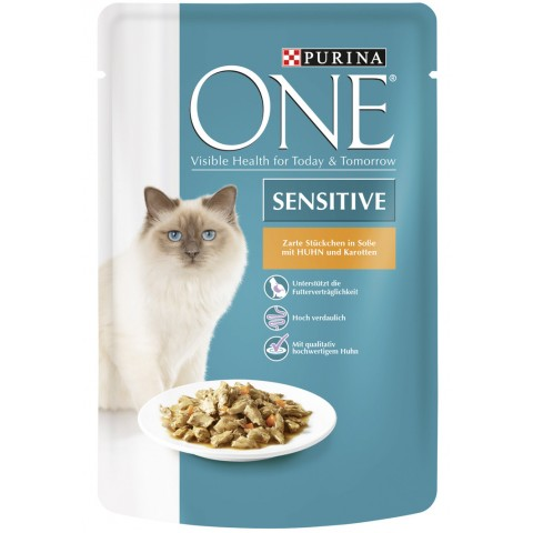 One Cat Sensitive Zarte Stückchen in Soße mit Huhn und Karotten Katzenfutter nass 85 g