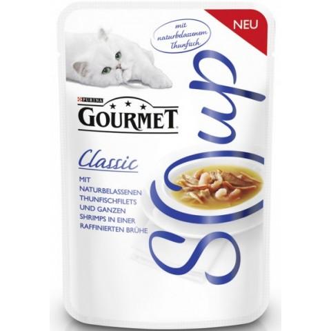 Purina Gourmet Classic Soup mit naturbelassenem Thunfisch und Garnelen Katzenfutter nass 40 g