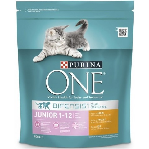 Purina One Cat Bifensis Junior reich an Huhn & Vollkorn-Getreide 0,8 kg