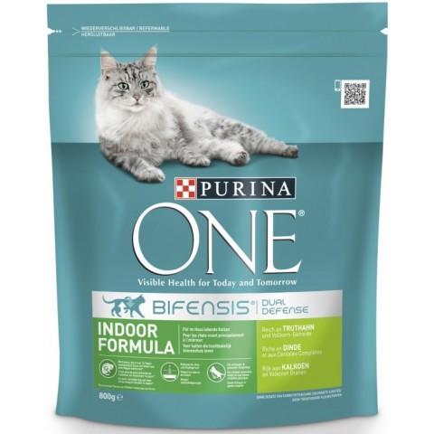 Purina One Cat Indoor Formula Truthahn & Vollkorgetreide Katzenfutter trocken 0,8 kg