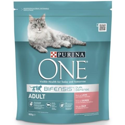 Purina One Cat Bifensis Adult Lachs und Vollkorn-Getreide Katzenfutter trocken 0,8 kg