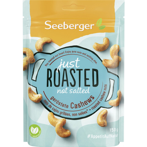 Seeberger Just Roasted Not Salted geröstete Cashews 150G