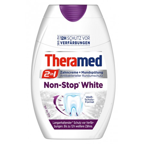 Theramed 2in1 Non-Stop White Zahncreme + Mundspülung 75 ml