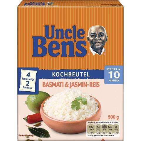 Uncle Ben´s Basmati & Jasmin-Reis 10 Minuten im Kochbeutel