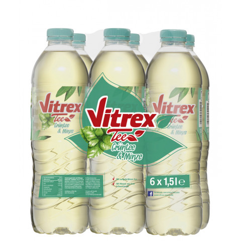 Vitrex Tee Grüntee mit Minze-Geschmack PET 6x 1,5 ltr