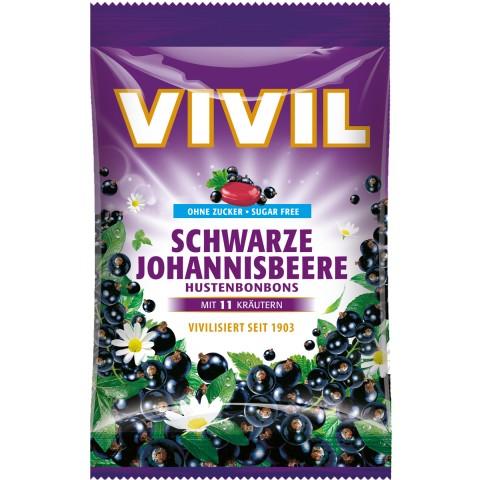 Vivil Schwarze Johannisbeere Hustenbonbons zuckerfrei 80 g