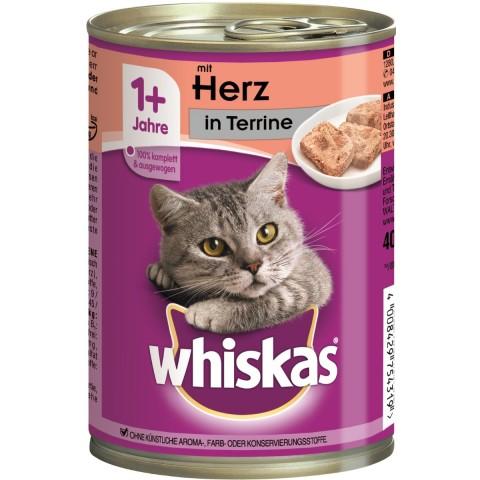 Whiskas 1+ mit Herz in Terrine Nassfutter für Katzen