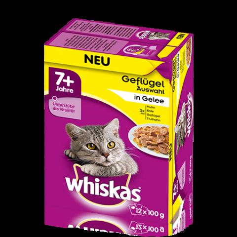Whiskas 7+ Geflügelauswahl in Sauce Katzenfutter nass Multipack