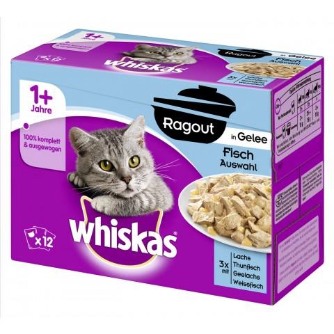 Whiskas 1+ Ragout in Gelee Fischauswahl Katzenfutter nass Multipack