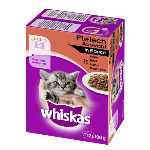 Whiskas Junior Fleischauswahl in Sauce Katzenfutter nass Multipack 12x 100 g