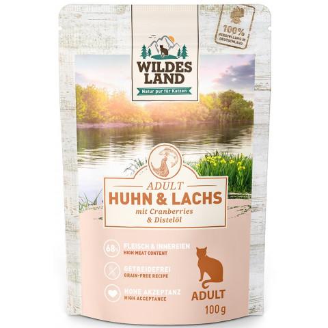 Wildes Land Adult Huhn & Lachs mit Cranberries & Distelöl katzenfutter nass 100G