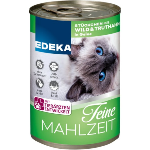 EDEKA Feine Mahlzeit Wild & Truthahn in Gelee Katzenfutter nass 400G