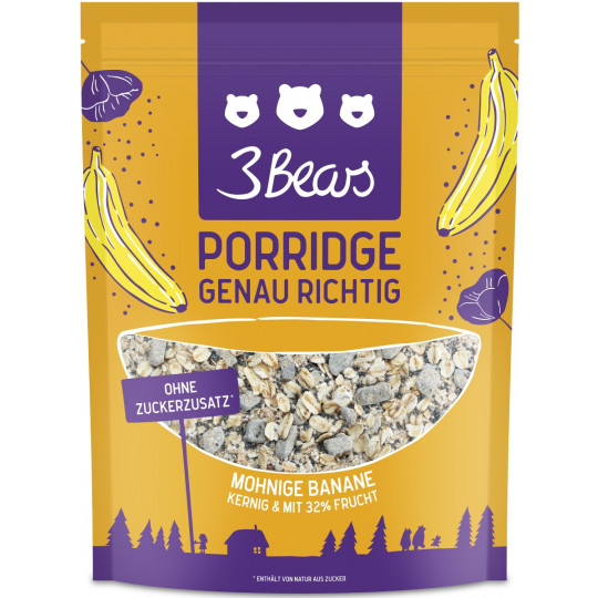 3 Bears Porridge Mohnige Banane 400 g