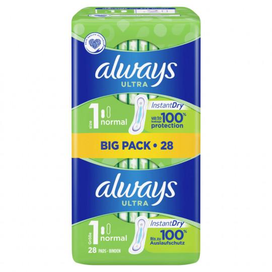 Always Ultra Normal Größe 1 Damenbinden Big Pack 28ST
