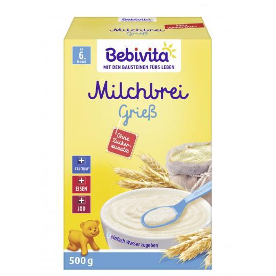 Bebivita Milchbrei Grieß ohne Zuckerzusatz ab 6.Monat 500G