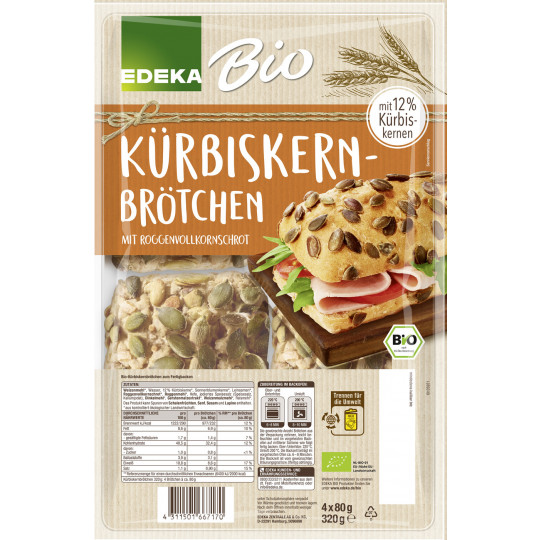 Bio EDEKA Kürbiskernbrötchen 4x 80G