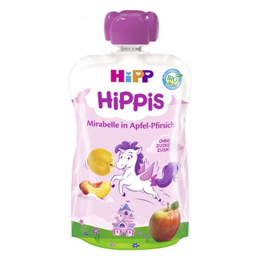 Hipp Bio Hippis Mirabelle in Apfel-Pfirsich ohne Zuckerzusatz ab 1 Jahr 100 g