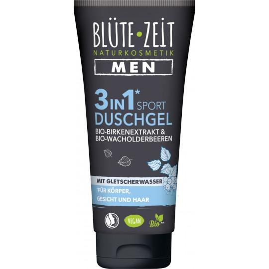 Blüte-Zeit Men 3in1 Sport Duschgel mit Bio-Birkenextrakt & Bio-Wacholderbeere mit Gletscherwasser 200ML