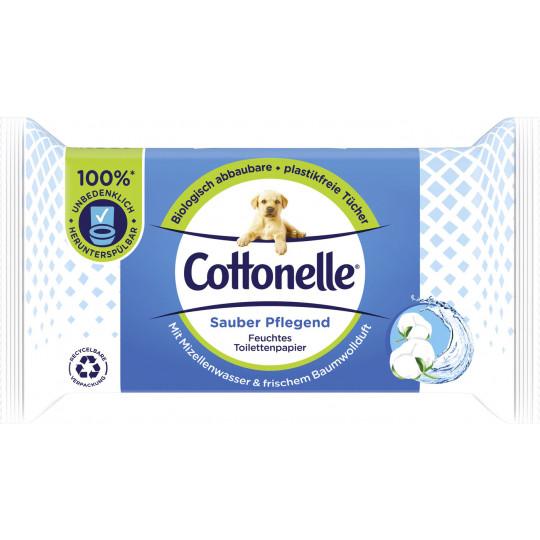 Cottonelle Feuchtes Toilettenpapier Sauber Pflegend mit Mizellenwasser und frischem Baumwollduft NF 42ST