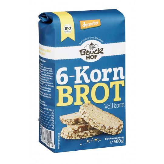 Bauckhof Demeter Bio 6-Korn Brot Backmischung 500g