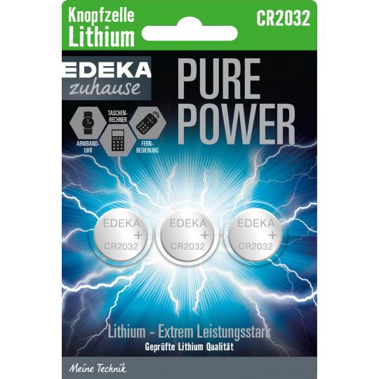 EDEKA zuhause Pure Power Lithium Knopfzelle CR2032 3ST