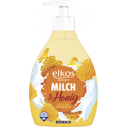 elkos body Cremeseife Milch & Honig Spender 500 ml