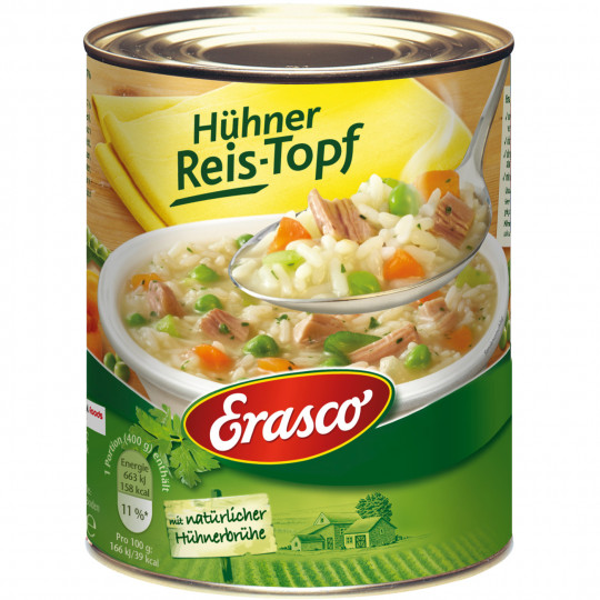 Erasco Hühner Reis-Topf mit Hühnerbrühe 800G
