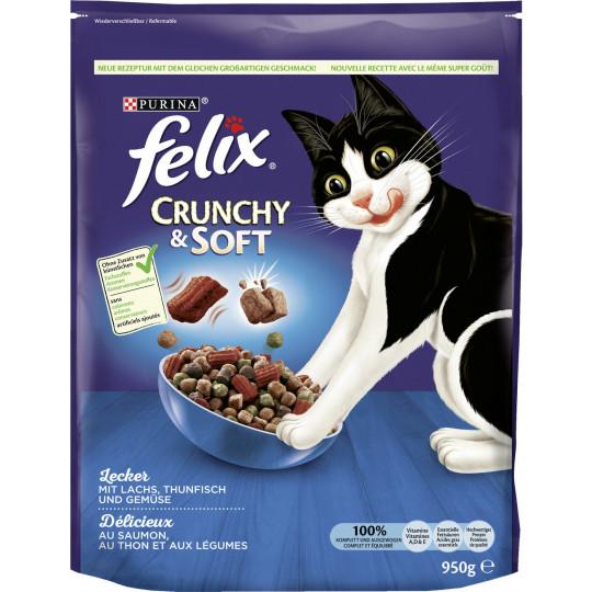 Felix Crunchy & Soft mit Lachs, Thunfisch und Gemüse 0,95KG