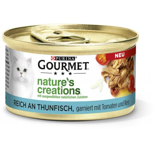 Purina Gourmet Nature's Creations reich an Thunfisch, garniert mit Tomaten und Reis 85G