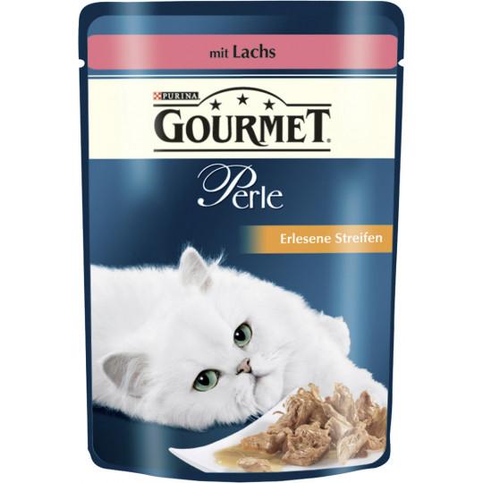 Purina Gourmet Perle Erlesene Streifen mit Lachs Katzenfutter nass 85 g