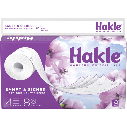 Hakle Toilettenpapier Sanft & Sicher 4-lagig 8x 130 Blatt
