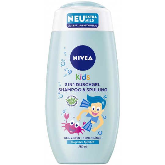 Nivea Kids 3in1 Duschgel, Shampoo & Spülung Magischer Apfelduft 250 ml