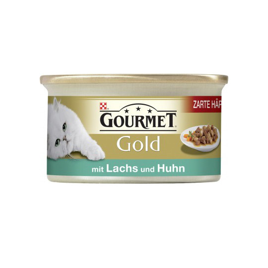 Purina Gourmet Gold Zarte Häppchen mit Lachs und Huhn 85G