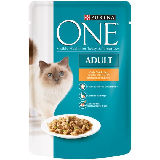 One Cat Adult zarte Stückchen in Soße mit Huhn 85G